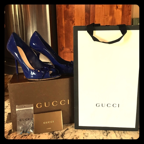 Gucci Shoes - Authentic Gucci Electric Blue Vernece Stiletto